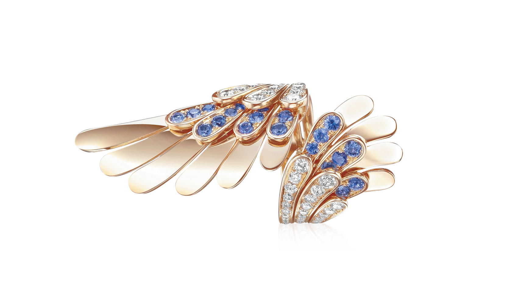 Gold Angel ring with diamonds and saphires - Angel - Tabbah Jewelry