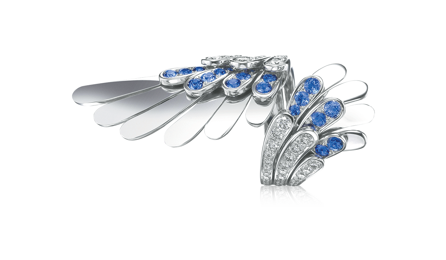 White Angel ring with diamonds and saphires - Angel - Tabbah Jewelry