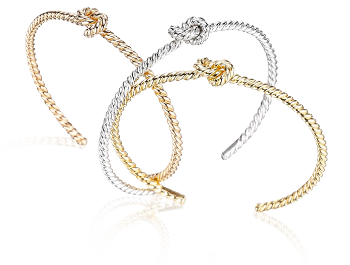 Forget Me Knot Bracelet in yellow, pink and white 18K gold - Sail Away - Tabbah Jewelry